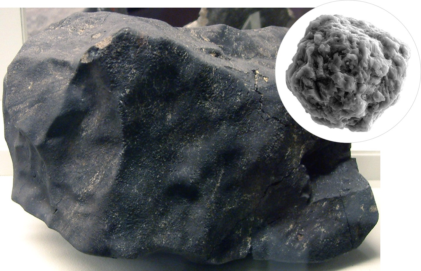Murchison meteorite and silicon carbide grain of stardust. In blog post Scent from Heaven - an essay on the smell of space, fragrance of meteorites, scent of meteors, and aroma of comets.