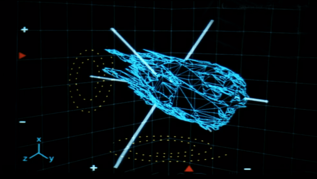 The tumbling asteroid in the film Armageddon (1998).