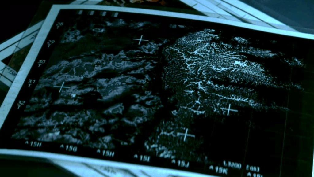 Map of landing site Segment 202, Grid 9, Site 15H/32, a location of dense compressed iron ferrite, on a metal asteroid the size of Texas, in the film Armageddon (1998).