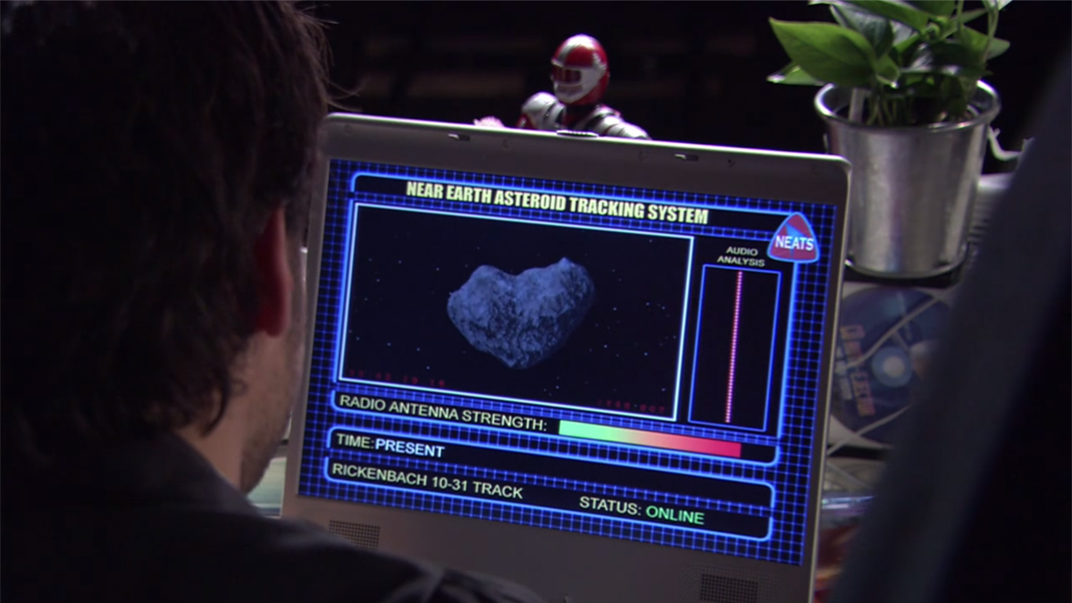 Scientist looking at asteroid Rickenbach 10-31 on screen in film Deadly Skies aka Force of Impact aka Ultimate Limit (2006)