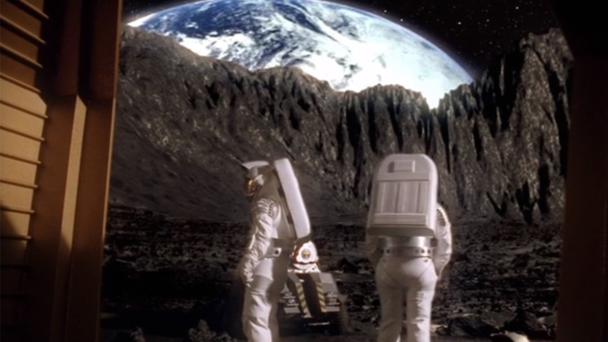 Asteroid having passed through Earth using the hyper drive in Stargate SG-1 - Fail Safe (2002)