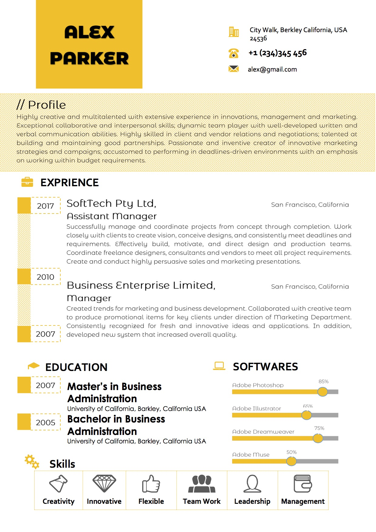 Professional Timeline Yellow Word Resume Template