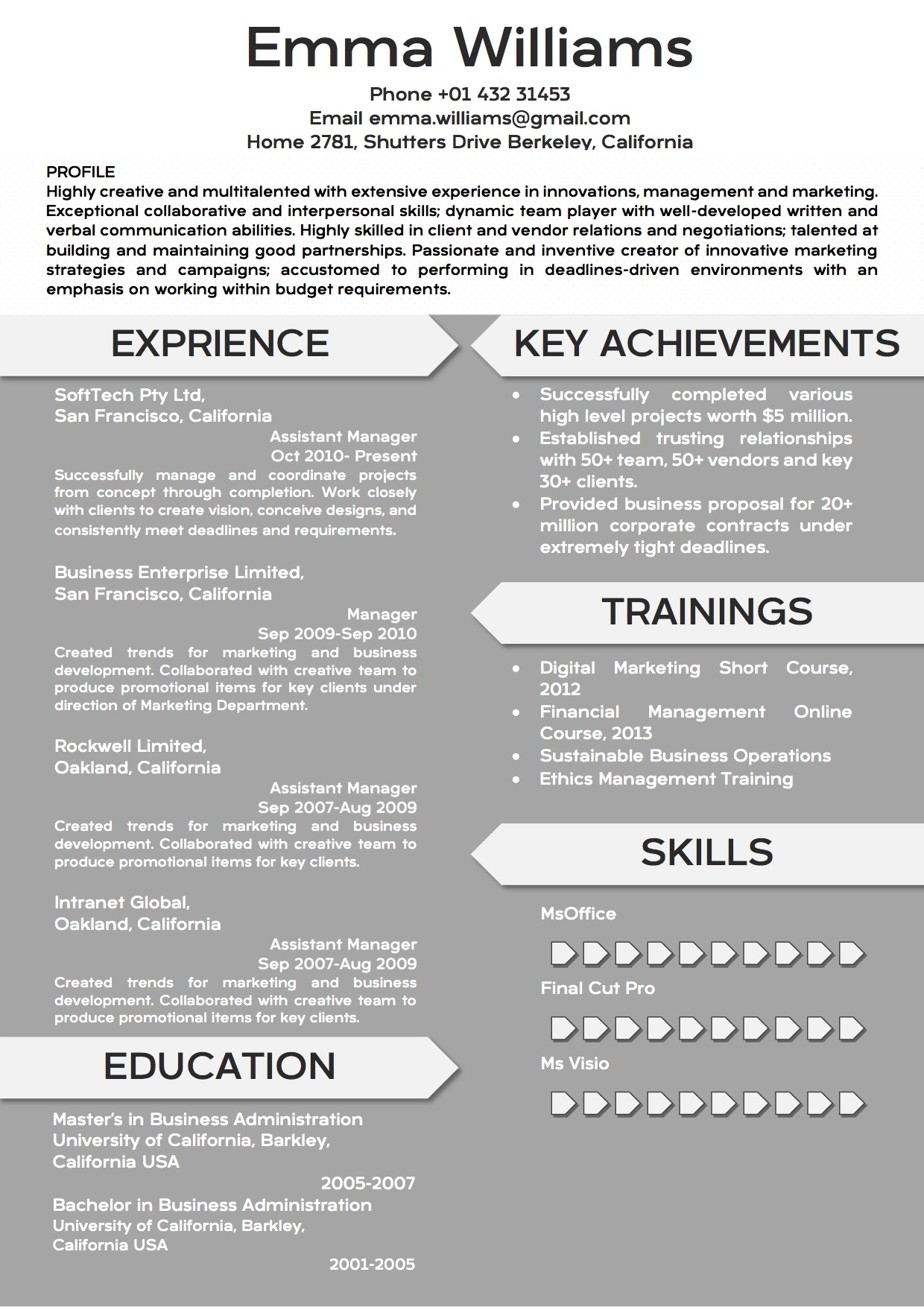 Creative Modern Resume Word Template Format - Vista Resume