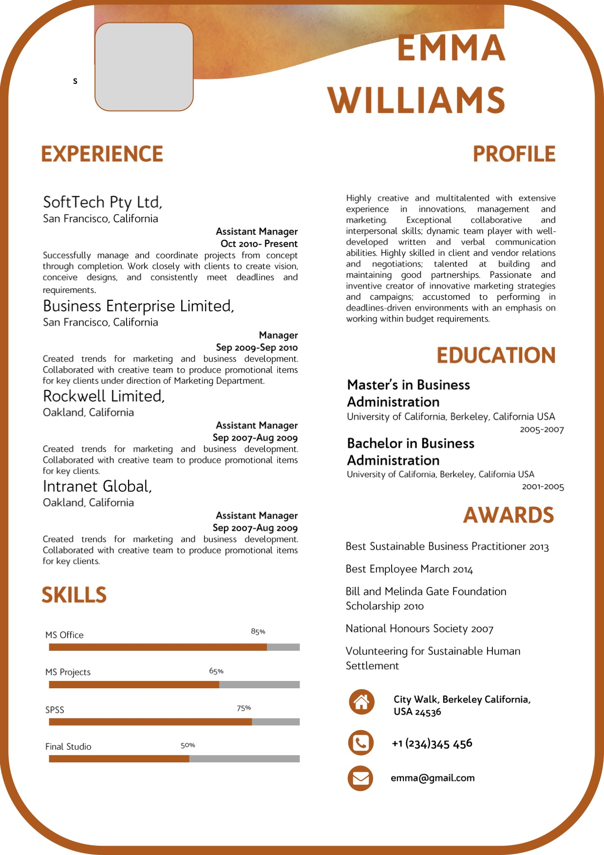 corporate_modern_professional_brown_resume