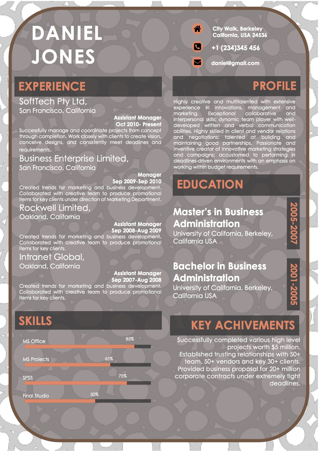 background modern resume docx template
