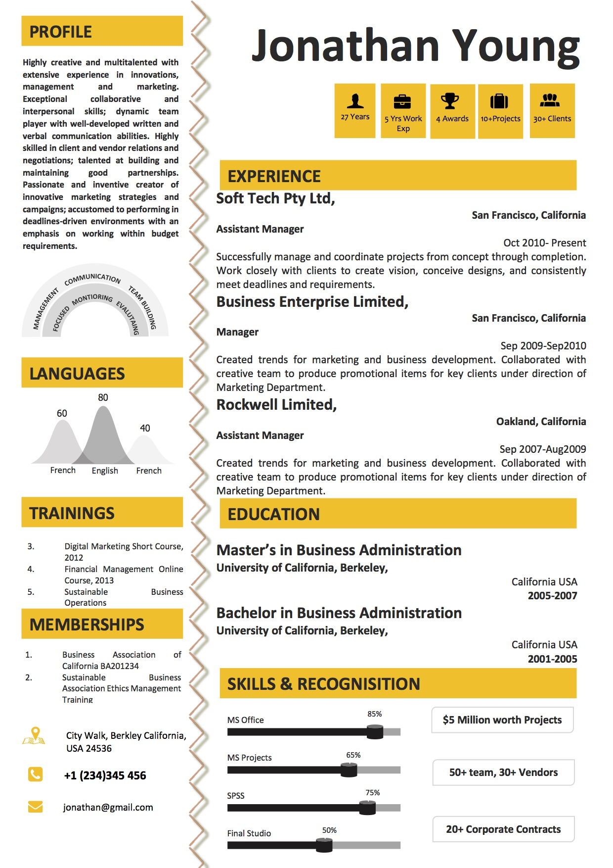 Yellow Infographic Resume Template