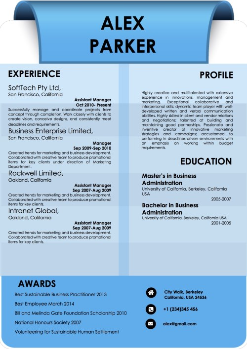 background_blue_professional_resume_word_template_format