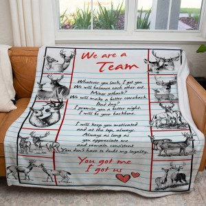 Personalized Anniversary Gift For Wife Blanket We Are A Team Dear Hunting Blanket H0