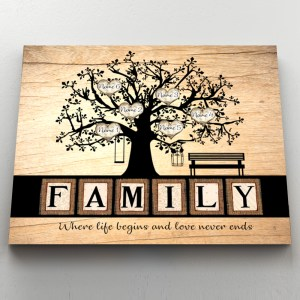 Personalized Gift For Parents, Family Tree Wall Art, Meaningful Family Anniversary Gift Canvas H0