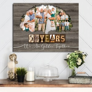 Personalized 50th Anniversary Gift For Parents, Gold Anniversary Gift, Custom Photo Parents Canvas H0