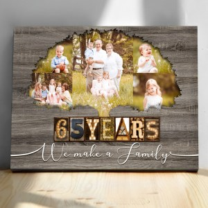 Personalized 65th Anniversary Gift For Parents, Blue Sapphire Anniversary Gift, Custom Photo Parents Canvas H0