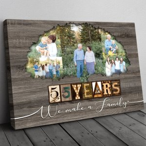 Personalized 55th Anniversary Gift For Parents, Emerald Anniversary Gift, Custom Photo Parents Canvas H0