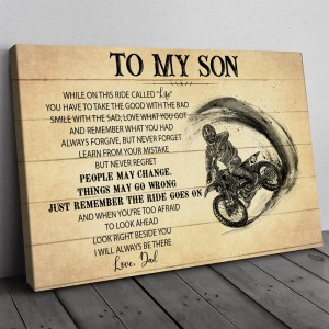 Gift For Son From Dad, Motocross Son Gift, On This Ride Dirt Bike Canvas H0