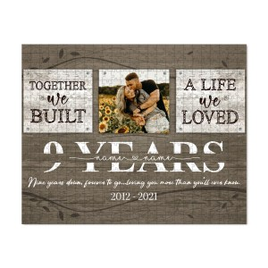 Personalized 9 Years Anniversary Gift For Her Custom Photo, 9th Anniversary Gift For Him, Together We Built A Life Puzzle H0