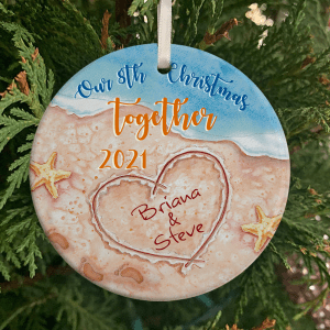 Personalized Beach Wedding Anniversary Gift, 8 Years Married, Our 8th Christmas Together Ornament H0
