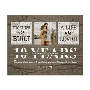Personalized 10 Year Anniversary Gift For Her, Tin Anniversary Gift For Him Custom Photo Together We Built A Life Puzzle H2