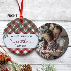 Personalized 3rd Christmas Married Ornament, 3 Years Wedding Gift For Wife Ornament H0