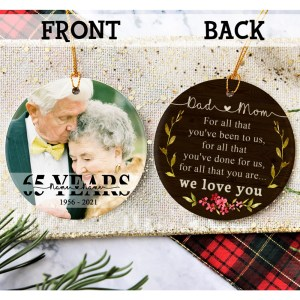Personalized 65 Year Anniversary Gift For Parents, 65th Anniversary Ornament, Christmas Gift For Parents Ornament H0