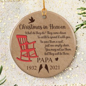Personalized Memorial Christmas Ornament, Christmas In Heaven, Loss Of Mom, Loss Of Dad Ornament H0