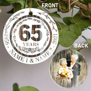 Personalized 65th Anniversary Gift For Parents, 65 Year Anniversary Ornament H0
