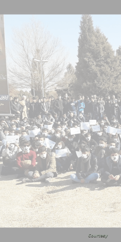 Students at Isfahan University of Technology stage an apparent silent sit-in on January 15, 2020, the 5th day of anti-government student protests in Iran. VOA could not independently verify the authenticity of this photo.