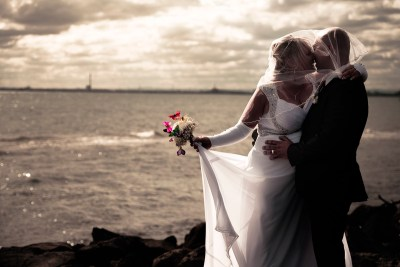 Newlyweds at the Melbourne seaside