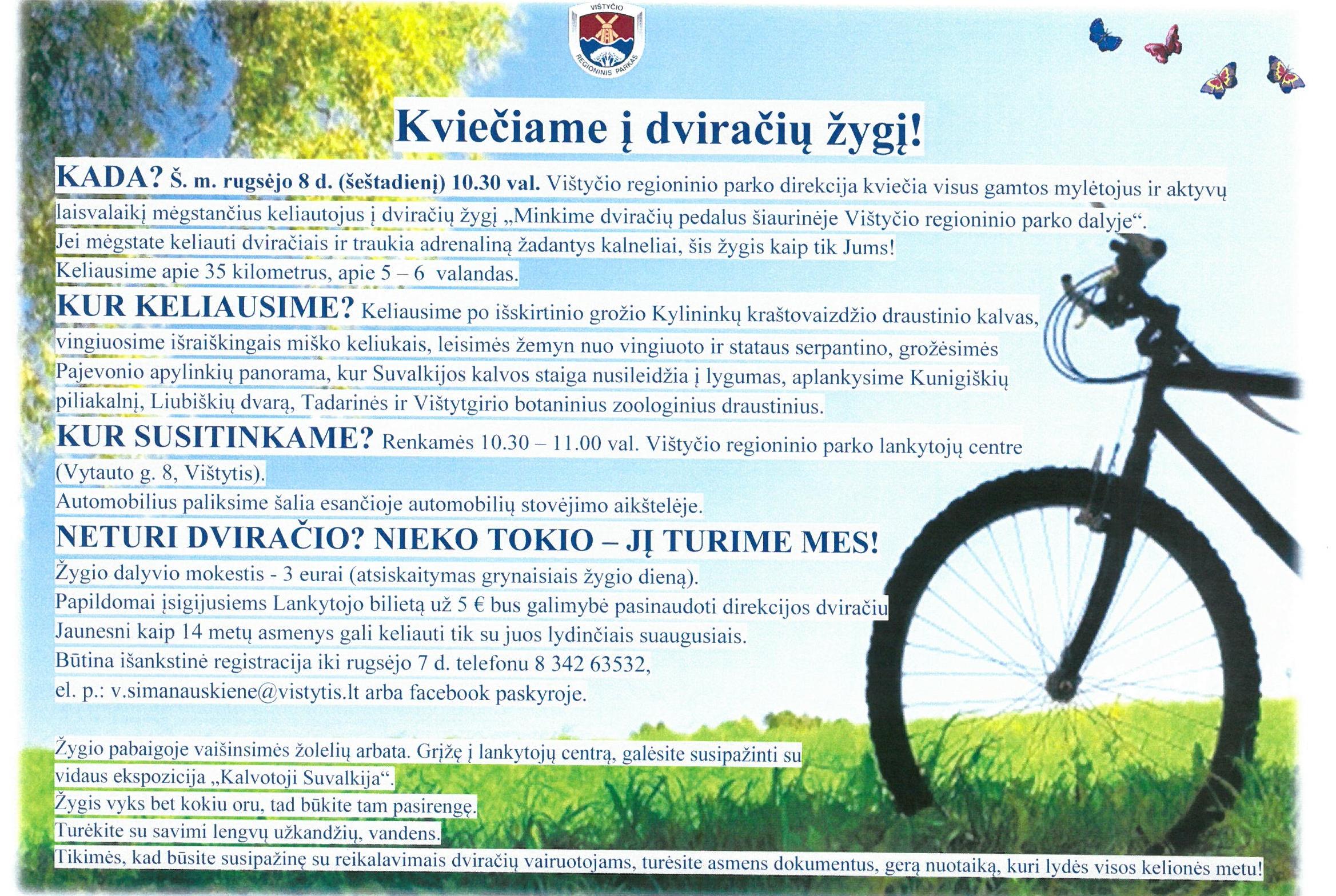 """Dviračių žygis """"Minkime dviračių pedalus šiaurinėje Vištyčio regioninio parko dalyje"""""""