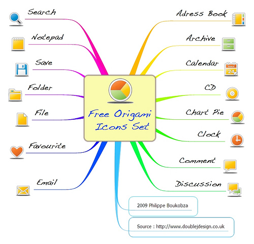Free Origami Icons Set Mindmap