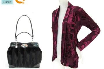 VT Luxe Park Avenue Faux Fur Satchel and Burnout Velvet Scarf Jacket