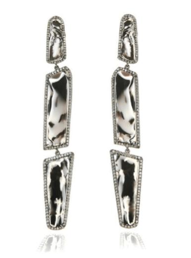 Zebra Opal & Diamond Drop Earrings