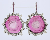 Bi-Color Tourmaline & Diamond Earrings