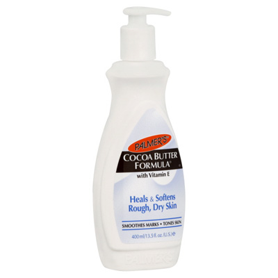 """Palmer's Cocoa Butter Lotion. I've been using it since high school.  It keeps your skin ultra smooth and also makes you """"smell like a cookie""""...as my friend's son told me!  Can't go wrong with that!"""