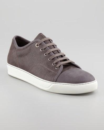 Lavin Suede & Lizard-Embossed Sneaker bergdorfgoodman.com