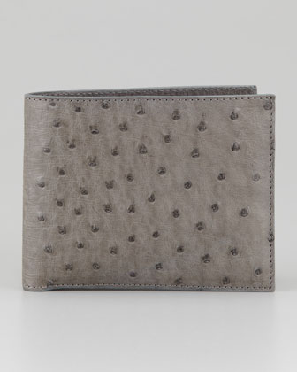 Santiago Gonzalez Grey Ostrich Bi-Fold Wallet on bergdorfgoodman.com