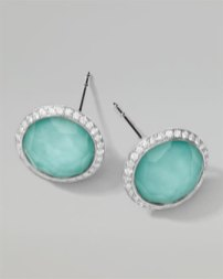 2. Ippolita Stella Stud Earrings in Turquoise Double with Diamonds