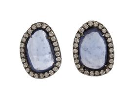 Monique Pean Atelier Diamond & Sapphire Slice Stud Earrings
