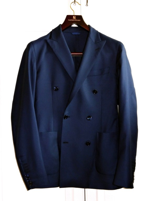 Nauman Pijarji Blue Wool Double Breasted Unlined Sports Jacket