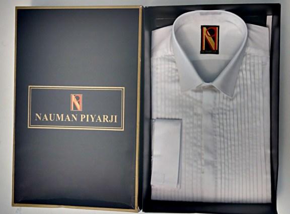 Nauman Piyarji Pure Cotton Hand Pleated Frech Cuff Tuxedo Shirt