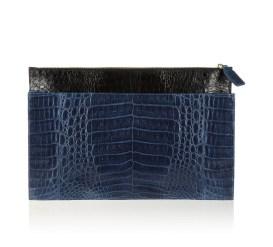 Nancy Gonzalez two-tone crocodile clutch