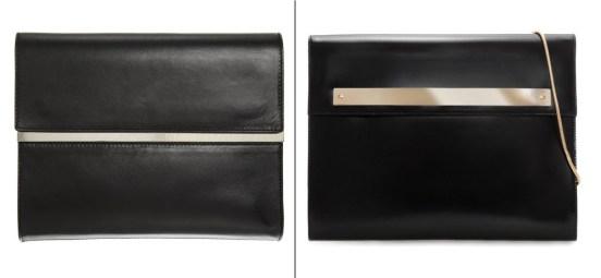 Left: Maison Martin Margiela Mirror-Mirror Trimmed Clutch, $1680   Right: Zara Slim Clutch, $35.90