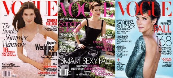 Sandra Bullock's Vogue covers: 1998 and 2004 by Steven Meisel, 2013 by Peter Lindbergh