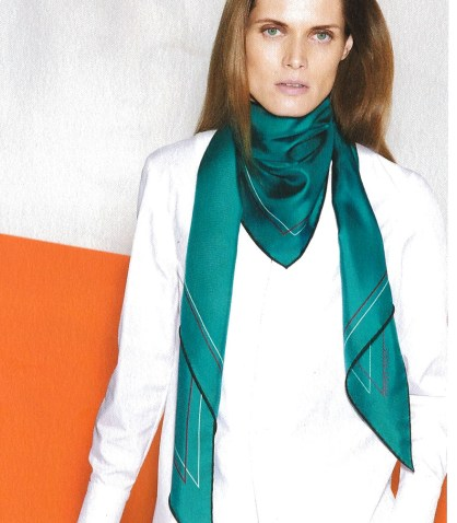 4. Hermes Maxi-Pointe Scarf in Silk Twill