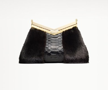 MINUIT MINAUDIÈRE Ranch Mink and Black Python Clutch