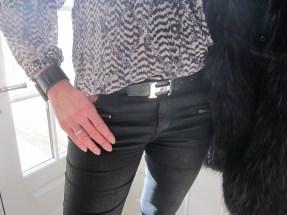 Just Cavalli Tweed And Fur Jacket, Zara Black Waxed Jeans, Hermès Belt, Bottega Veneta Cuff