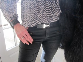 Just Cavalli Tweed And Fur Jacket, Zara Black Waxed Jeans, Hermès Belt, Bottega Veneta Cuff