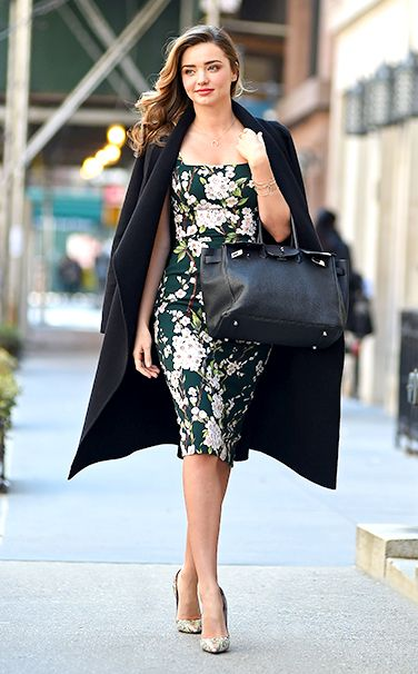 Miranda Kerr in Floral Dress And Pumps