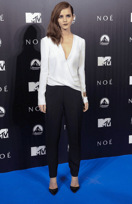 In a black-and-white silk J. Mendel jumpsuit and black-and-clear Gianvito Rossi pumps at 'Noah' Premiere in Madrid
