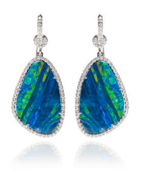 Nina Runsforf 18K White Gold Opals And Diamond Pave Earrings