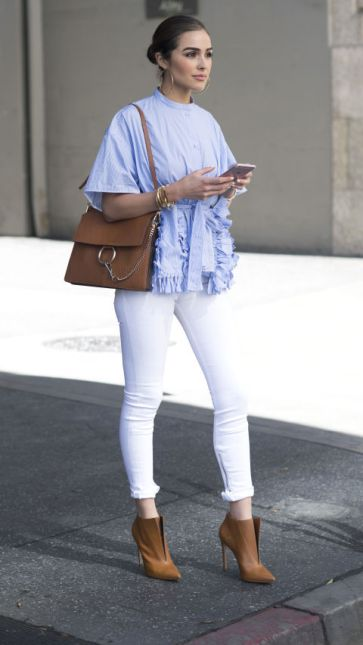 Ruffle shirt and white jeans street style