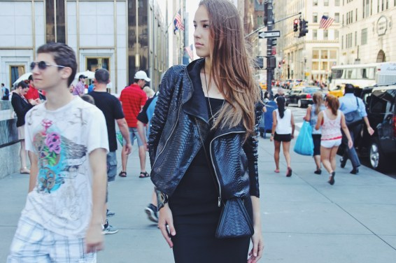 LRVT Demi V with Rick Owens leather jacket, Alaia skirt